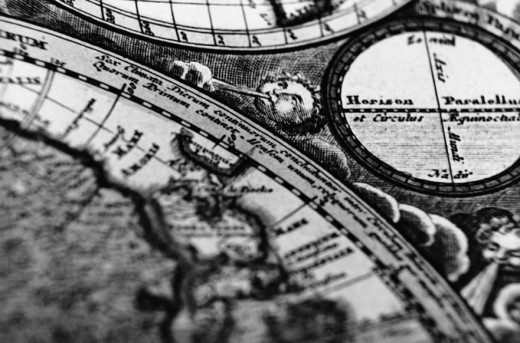 Detail of an Antique World Map : Stock Photo