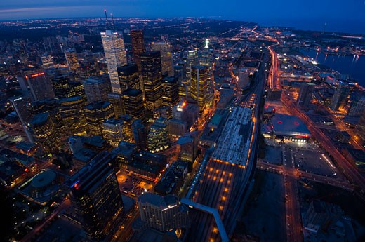Stock Photo: 1598R-1339 This image was taken from CN Tower, (long exposure) Aug 2005.