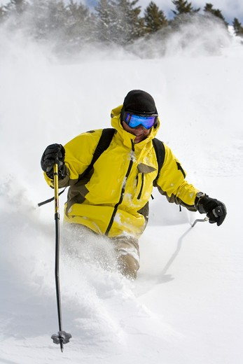 USA, Idaho, Sun Valley, man downhill skiing : Stock Photo