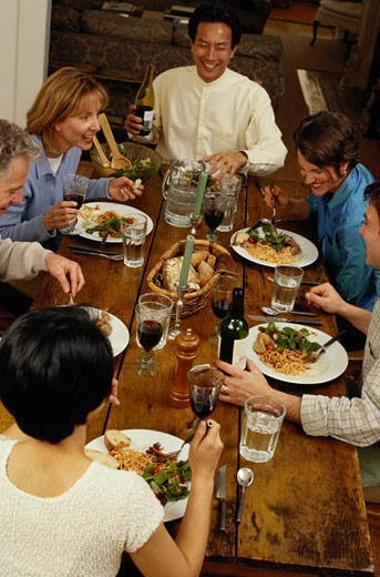 Stock Photo: 1598R-144337 Couples Eating Dinner