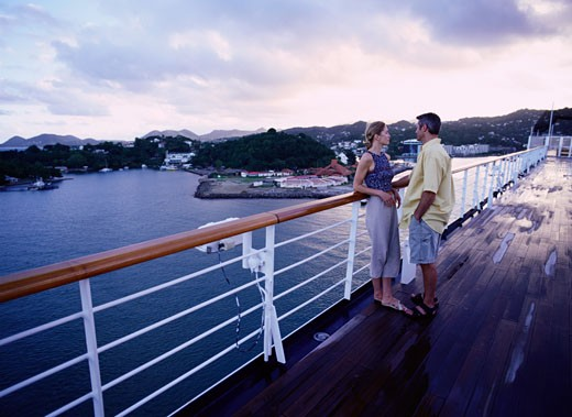 Stock Photo: 1598R-147402 Couple on Deck of Cruise Ship, St. Lucia