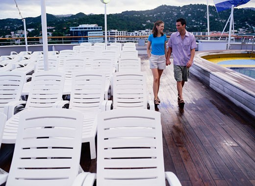 Young Couple on a Cruise Ship Deck : Stock Photo