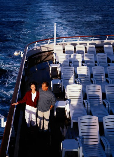 Couple Walking on a Cruise Ship Deck : Stock Photo