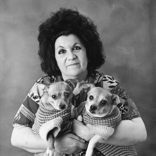 Portrait of a Woman and Her Two Dogs : Stock Photo