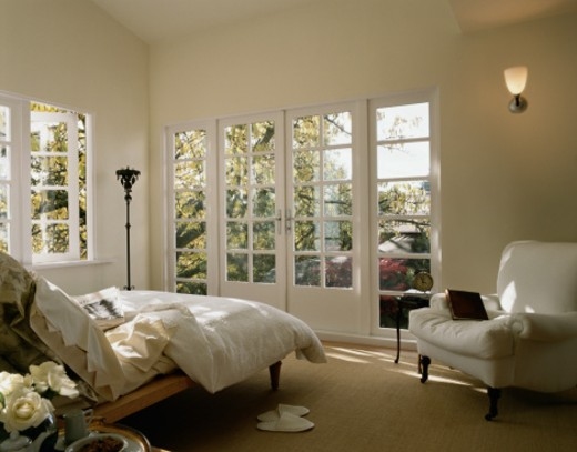 Bedroom with French Doors : Stock Photo