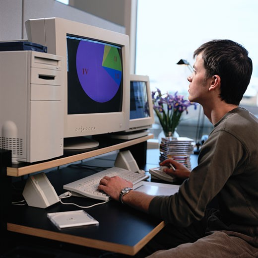 Stock Photo: 1598R-153526 Man at Computer