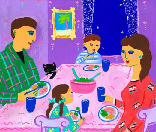 Stock Photo: 1598R-154849 Family Having Dinner