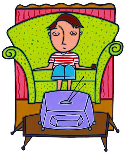 Boy Watching Television : Stock Photo
