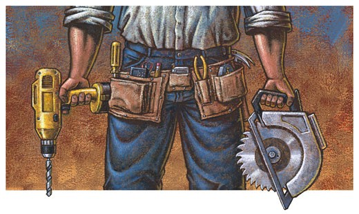 Worker with Tools & Tool Belt : Stock Photo