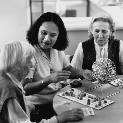 Stock Photo: 1598R-159715 Game of Bingo at Assisted Living Home