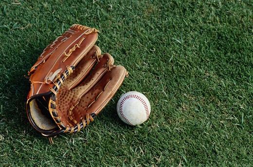 Baseball Mitt and Baseball : Stock Photo
