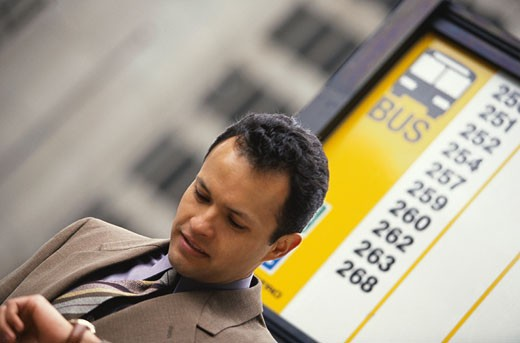 Businessman Waiting for the Bus : Stock Photo
