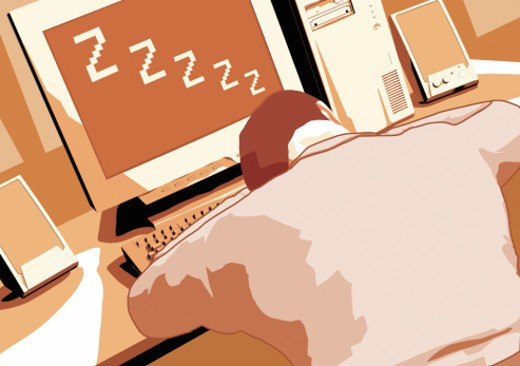 Stock Photo: 1598R-16532 Person sleeping at computer