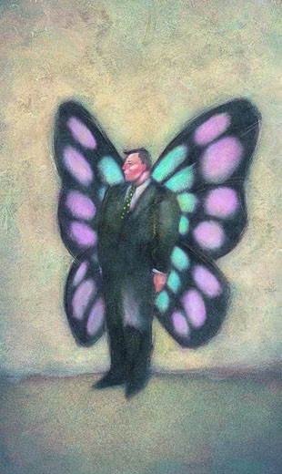 Businessman with Butterfly Wings : Stock Photo