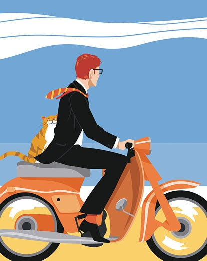 Businessman and kitty riding on moped : Stock Photo