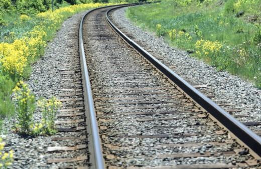 Railroad tracks, Sydney, Nova Scotia, Canada, (Close-up) : Stock Photo