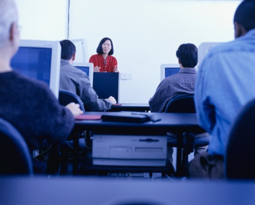 Students having lesson in computer lab : Stock Photo