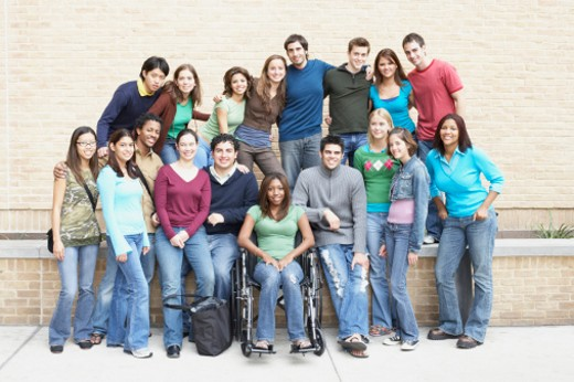 Stock Photo: 1598R-178347 Portrait of a group of young people smiling