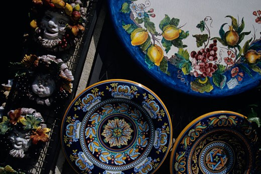 Traditionally decorated plates in shop, Orvieto, Italy, close-up : Stock Photo
