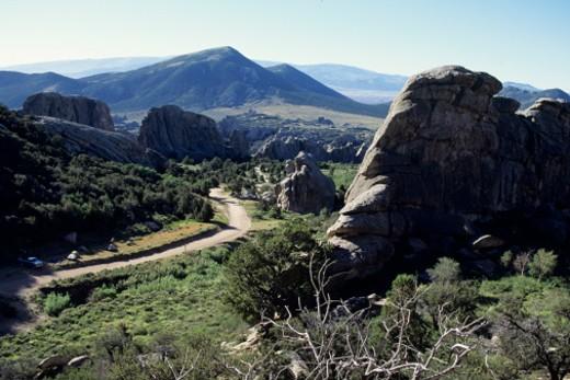 Stock Photo: 1598R-181181 Road running through hilly landscape, City of Rocks, Idaho, USA