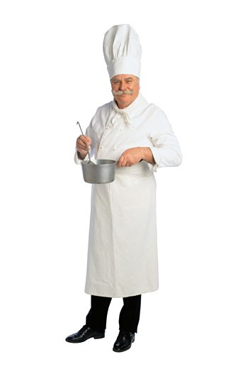 Stock Photo: 1598R-182879 Portrait of a French Chef with a Pot