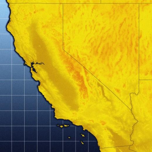 Map of California and Nevada : Stock Photo