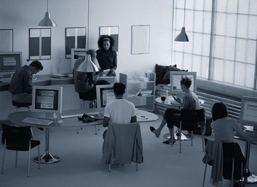 Stock Photo: 1598R-185511 People Sitting in an Internet Caf?