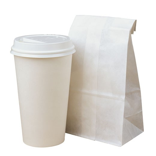 Stock Photo: 1598R-185622 Paper Coffee Cup and Bag