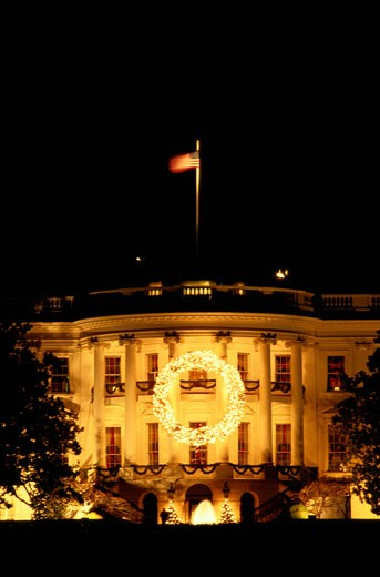White House Decorated with a Christmas Wreath : Stock Photo