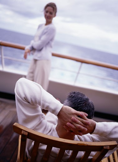 Stock Photo: 1598R-186142 Couple on Deck of Cruise Ship, Caribbean