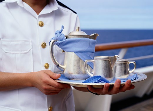 Stock Photo: 1598R-186169 Cruise Ship Waiter with Silver Service Tray