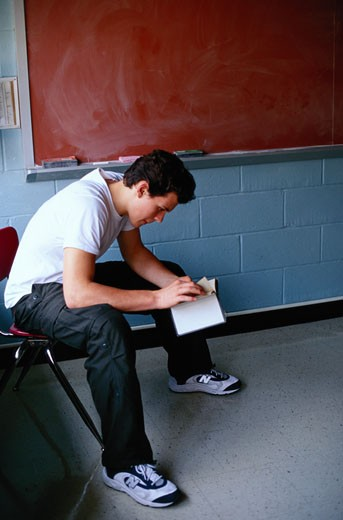 Stock Photo: 1598R-188500 Teenage Boy Reading a Book