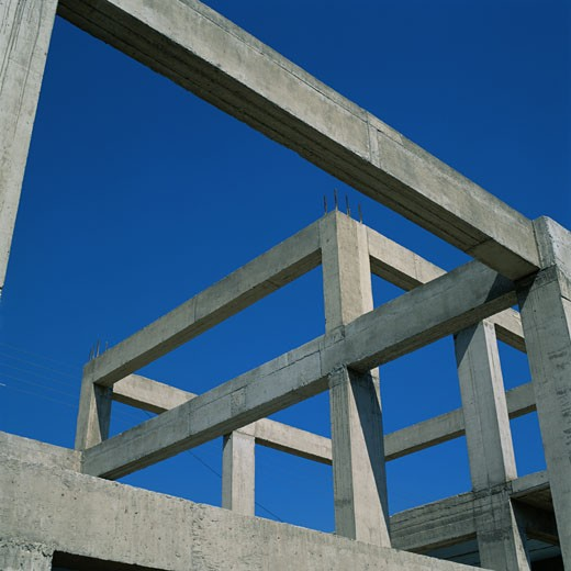 Stock Photo: 1598R-188850 Cement Construction Frame of a House