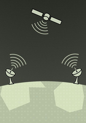 Satellite dishes pick up transmitter signals from satellite : Stock Photo