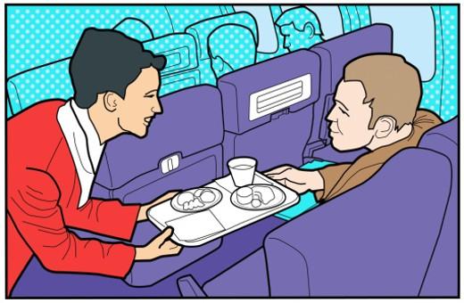 Airplane steward passing tray to passenger : Stock Photo