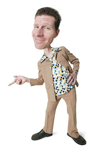 Stock Photo: 1598R-200615 photo caricature of a desperate caucasian man in a polyester suit and retro shirt as he leans over and points