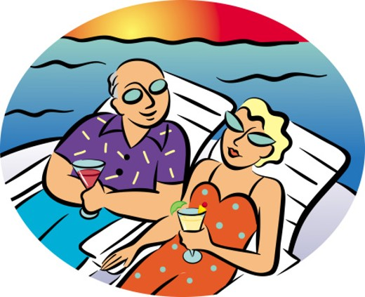 Couple Sitting in Lounge Chairs : Stock Photo