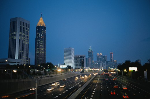 Stock Photo: 1598R-204741 Atlanta at Night
