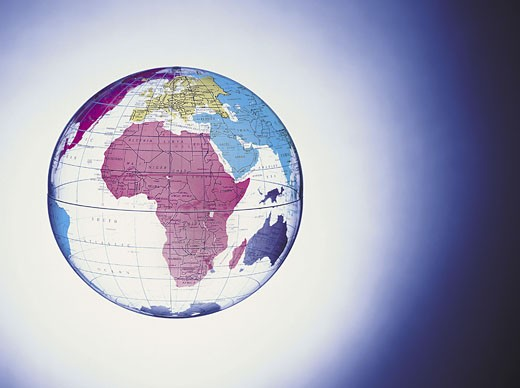 Africa on transparent globe : Stock Photo