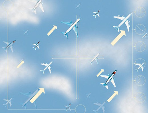 Airplanes and arrows in diagonal direction against sky blue background : Stock Photo