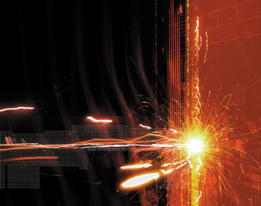 Sparks hitting futuristic wall : Stock Photo