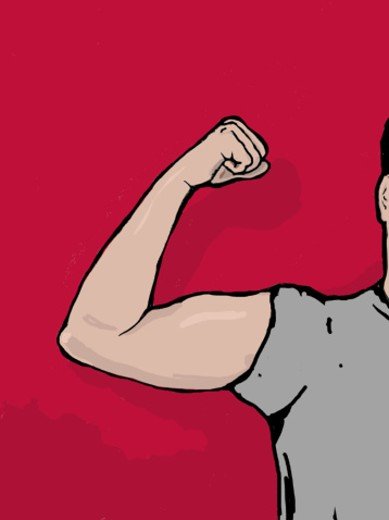 Stock Photo: 1598R-21002 Man flexing bicep on red background