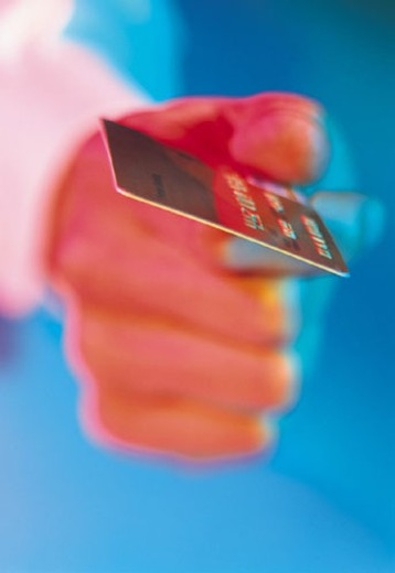 Stock Photo: 1598R-210994 Hand holding credit card