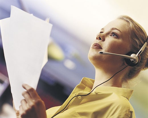Stock Photo: 1598R-211800 Businesswoman wearing headset