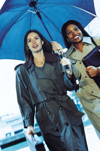 Businesswomen Under Umbrella : Stock Photo