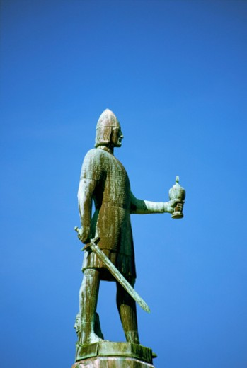 Low angle view of the statue of King Olav Tryggvason, Trondheim, Norway : Stock Photo