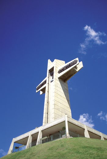 Low angle view of El Vigia Cross, Ponce, Puerto Rico, Caribbean : Stock Photo