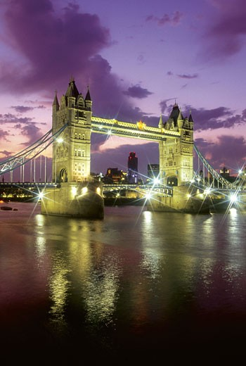 Stock Photo: 1598R-212466 Tower Bridge at night, London, England