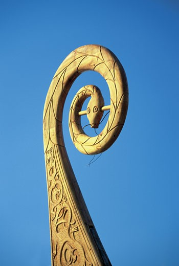 Close-up of the bow of a Viking ship, Oslo, Norway : Stock Photo