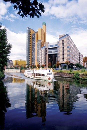 Boat on a river, Potsdamer Platz, Berlin, Germany : Stock Photo